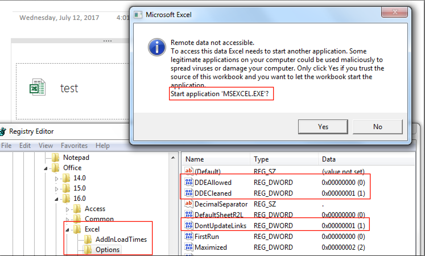 excel 2016 protected view registry